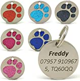 Personalised Engraved 25mm Glitter Paw Print Tag BOLD BLACK LETTERING Dog Cat Pet ID Tags (Red)