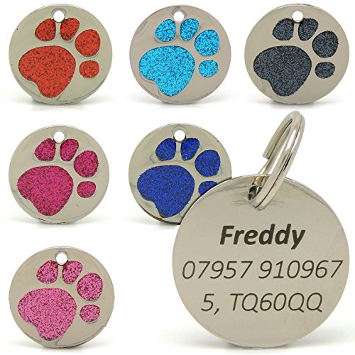 personalised-engraved-25mm-glitter-paw-print-tag-bold-black-lettering-dog-cat-pet-id-tags-red