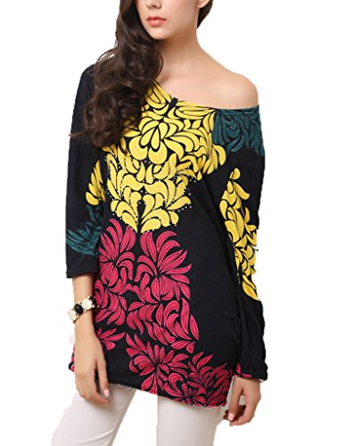 Vlunt Femmes-Papillon en soie de glace amovible-robe d'été-automne Multicolore - F