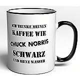 funtasstic tasse ich trinke meinen kaffee wie chuck norris schwarz und ohne wasser. Black Bedroom Furniture Sets. Home Design Ideas