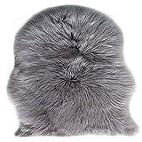 Lammfell Schaffell Teppich, Fell Schaffell Lammfell Imitat Kunstfell Dekofell , Langes Haar Nachahmung Wolle Bettvorleger Sofa Matte 75 x 120 cm