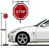 Bakaji Assistente di Parcheggio a LED Segnale STOP con Asta Sensore di Vibrazione Auto, Parking Assistant