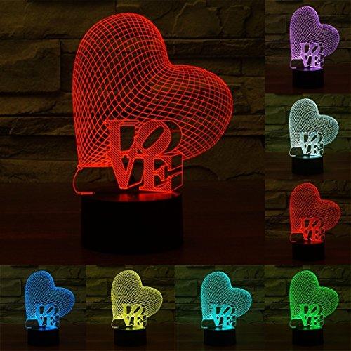 Décoration LOVE lettre USB en charge 7 couleurs stéréo lumière 3D tactile LED lampe lampe de table lampe de nuit, DC 5V, Acrylique Donner en cadeau