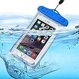 Aventus (Bleu) Samsung Galaxy A5 (2016) Pochette Sac étanche Universel Waterproof Imperméable Durable, Tactile Réactif de Windows Transparent, étanche Sealed Poche Système