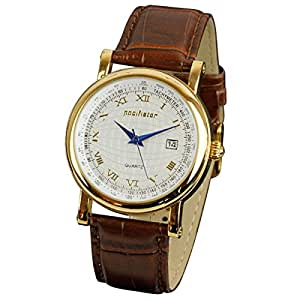 PACIFISTOR Men's Quartz Watch with Gold Tone Dial Analogue Display and Brown Leather Strap #PX-003-GD-L