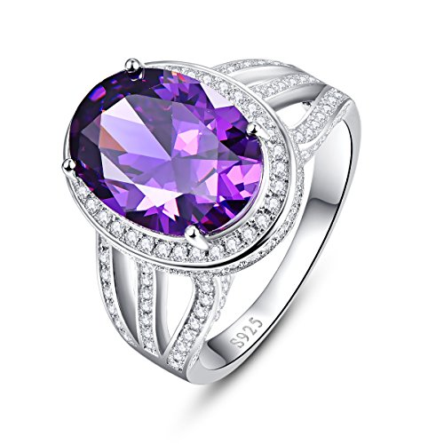 - Amethyst-ring-rund (Bonlavie  - FINERING 925 Sterling-Silber  Sterling-Silber 925 Brilliant Rund Ovalschliff   G-H Améthyste Oxyde de Zirconium)