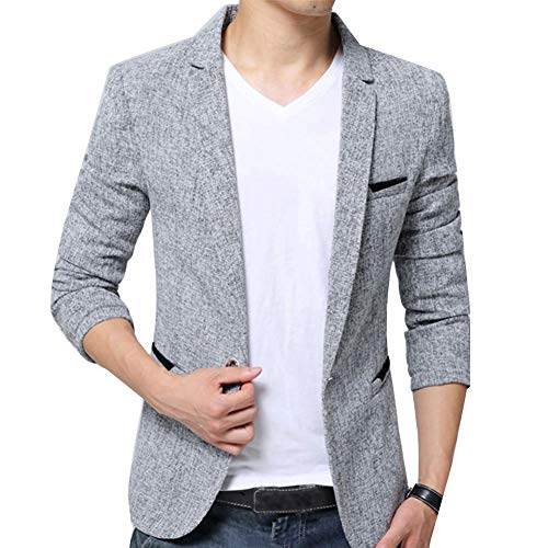 Herren Anzugjacke Casual Freizeit Sakko Business Blazer Slim Fit Grau M