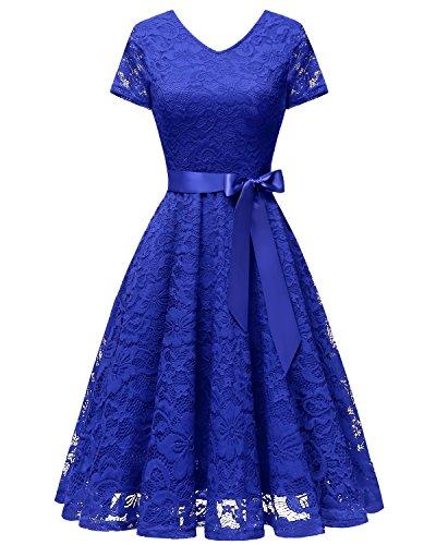 bridesmay Damen 50S Retro Spitzenkleid Kurzarm Elegant Cocktail Abendkleid Royal Blue L