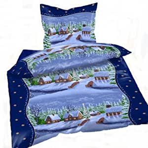 bettw sche weihnachten winterlandschaft microfaser thermofleece 135x200 k che haushalt. Black Bedroom Furniture Sets. Home Design Ideas