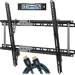 """Cheetah APTMM2B support TV mural pour téléviseurs de 20 à 80"""" jusqu'à VESA 600 et 75kg, câble HDMI Twisted Veins 3m et niveau à bulle 3-axes magnétiques 15cm inclus"""