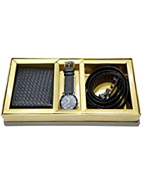 [Sponsored]Vanalika Combo Of Gents Wallet,Gents Belt And Wrist Watch(Gift Set Made Of Leatherite)