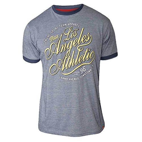 Herren T-shirt D555 Duke Kurzärmelig Groß King-size Los Angeles Aufdruck Sommer Neu Blau - IRVIN