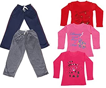 Indistar Girls Combo Pack(Pack of 2 Wollen Warm Lower/Track Pant and 3 Full Sleeves T-Shirts)_Navy Blue::Grey::Red::Pink::Red_6-7 Year