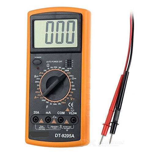 GAUGE Digital Multimeter Voltmeter mit 2 Prüfkabeln, Spannungsprüfer im kompakten Design, großes LCD Display, Stromprüfer mit Hold Funktion