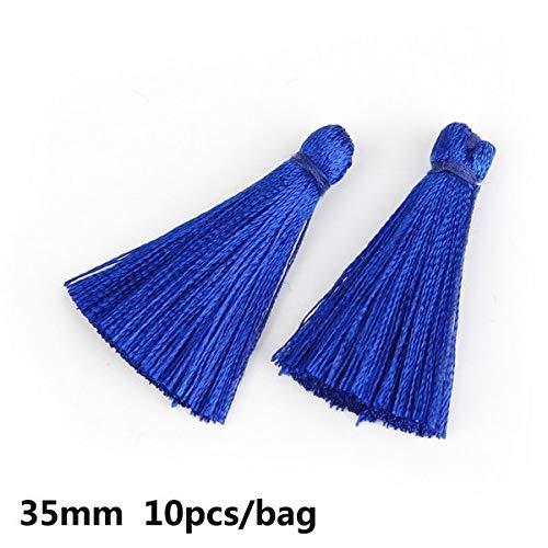 AiCheaX Fashion 10-20pcs Handmade 35mm Lange Mini Quaste, 100% Rayon Seide Quaste für DIY Quaste Kleid Kleidungsstück/Heimtextilien Zubehör - (Farbe: Royal Blue 10pcs) -