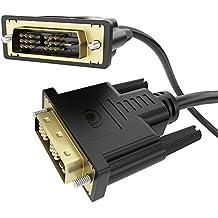delightable24 3m Cavo DVI / DVI - Contatti placcati oro 24k - Risoluzione Full HD fino a 1080p per Monitor, PC, Notebook, Televisori (LCD/Plasma/TFT) e Proiettori - 3 Metro Nero