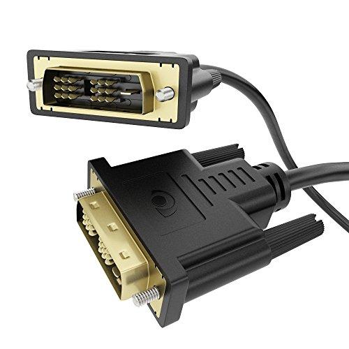 NALIA 3m Full HD DVI zu DVI Kabel, Monitorkabel/Videokabel mit Vergoldeten Anschlüssen, Auflösung bis 1080p für Monitore, PCs, Notebooks, Fernseher (LCD/Plasma/TFT), Projektor - Schwarz