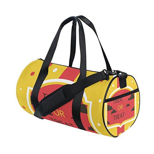 COOSUN Halloween Trick Or Treat Duffle Tasche Schulter Handy-Sport Gym-Taschen für Männer und Frauen Mittel Mehrfarben