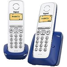 Gigaset A230 Duo - Teléfono fijo inalámbrico, color azul y blanco