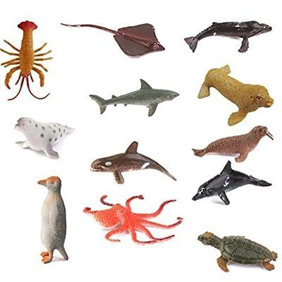 Lot de 12pcs Figurine Animaux Marins en Plastique Modèle Jouet Multicolore