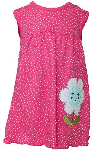 Sommer SALE! Sommerkleid | Shirt-Kleid Pincess Taufkleid Modell 20 rosa gepunktet mit blauer Blume