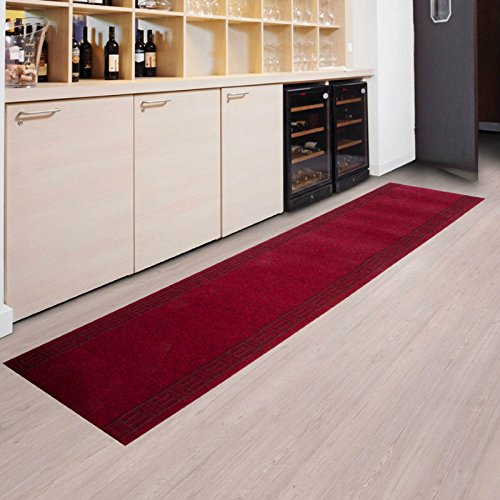 Tapis de passage casa pura® PRIMAVERA Rouge | pour cuisine, couloir, entrée | poids du poil env. 1150 g par m² - matière résistante | tailles diverses, 66x300cm