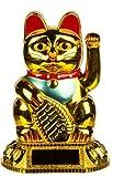 Glückskatze mit winkendem Arm, Solarenergie, Chinesisch, Orientalisch, Glück, Gold, Maneki Neko, Feng Shui, Geld, Dekoration, Geschenk