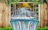 Wemall Carta da parati 3D murales per soggiorno Decorazione domestica 3D carp finestra sfondo muro living, 400x280 cm (157,5 per 110,2 in)