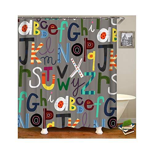 Abellale Bad Dusche Vorhang Englisches Alphabet Waschbarer Duschvorhang Bunt 90x180CM (Herrliche Dusche Vorhang)