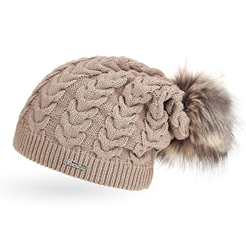 6d7842ffe9d72c coole Damen Strickmütze Strick-Beanie gefüttert mit Fell-Bommel, Winter- Mütze,