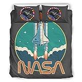NC83 NASA-Rakete Bettdecken-Sets Modern 3-teilig Kopfkissen- und Kopfkissenbezüge - Rakete steigt Lichtbeständig Boho Bettwäscheset White 264x229cm