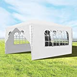 wolketon 3x4m Gartenpavillon Stabiles hochwertiges Pavillons UV-Schutz Garten Strand Partyzelt Weiß mit 4 Seitenteilen Praktischer zelt