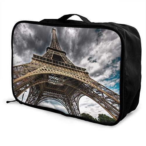 GepäckträgertaschenGepäck ReisetascheLightning Sky Eiffel Tower Travel Fashion Lightweight Large Capacity Portable Waterproof Foldable Storage Carry Luggage Bag Luggage Duffle Tote Bag Hanging Trav (Eiffel Tower-bild-halter)