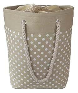 Grand, stockage a sac pliable doux pour les jouets, linge ou la lessive. Entièrement doublé avec le dessus de cravate. Motif de point crème de polka.