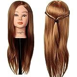 "LuckyFine formación peluquería cabeza 24"" hair, sintético con el pelo largo, cabezas de maniquí peluquero, maniquí cabeza cabeza, con la formación de cabecera peluquero pelo largo soporte del cabezal"