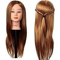 "Cabeza Peluqueria, Luckyfine Cabeza Maniqui Peluqueria y Maquillaje 24"" hair Pelo Sintético para Practicar Peinados (Con Soporte Pinza)"