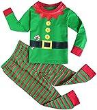 Fancyinn Chicos Chicas Conjuntos de Pijamas de Navidad Niños pequeños Reno Disfraz Manga Larga Ropa de Dormir Traje de Dormir Verde 110