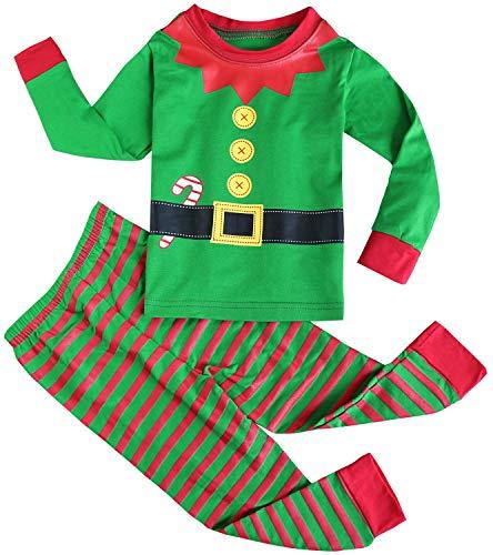 FANCYINN Jungen Mädchen Weihnachtsschlafanzüge Kleinkind Kinder Rentier Kostüm Langarm Nachtwäsche Nachtwäsche (Kleinkind Rentier Kostüm)