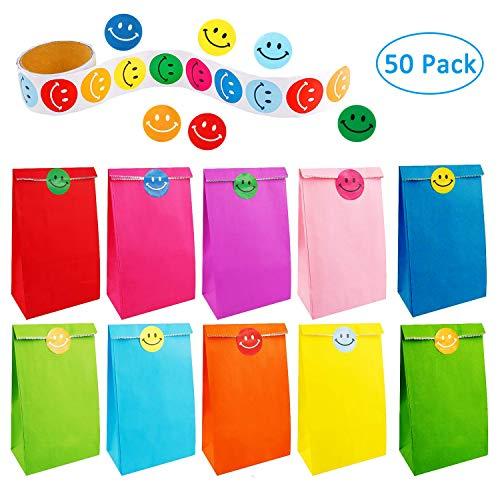 Shi wu 50 pz sacchetti di carta regalo borse arcobaleno festa con un rotolo di 100 adesivi faccina per bambini adulti forniture per feste di compleanno