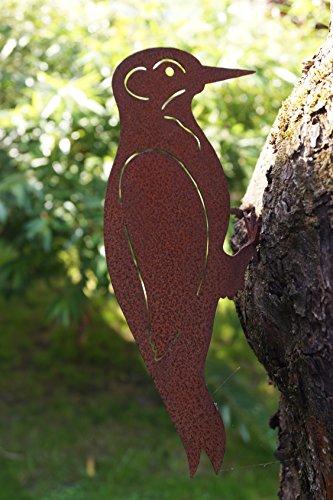 Edelrost Specht mit Schraubgewinde Gartendekoration Vogel Metall -