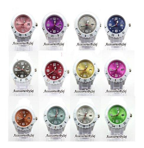 AccessoriesBySej (Deutsch Verkäufer) Herrenuhr Damenuhr HOT Silikon Uhr Uhren L (Breit) 4,3 cm mit Datum Trend Watch Style Sport - Verfügt über Luxuriöse Geschenktüte von AccessoriesBySej - Von AccessoriesBySej TM
