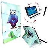 Tablet Tasche für ARCHOS 101c Copper Schutz Hülle Etui Case + Touch Pen - 10.1 Zoll Blau Eulen 360_