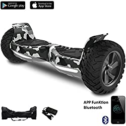 "EVERCROSS 8.5"" Hoverboard Scooter Patinete del mano Eléctrico Bluetooth APP self balancing (Army Green)"