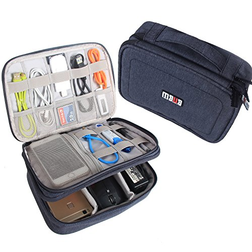 BUBM Gadget Organiser Case for Data Cables, Chargers, Plugs, Memory Cards, CF Cards Pen Drives and More--Compact, Well Made, Ideal Travel Bag, Dark Blue