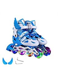 LLSZ Patines Ajustables for niños, con Todas Las Ruedas iluminadas, iluminaciones Divertidas for niñas y Mujeres (Color : Blue, Size : L)