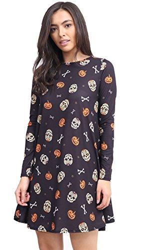 Comfiestyle - Robe - Robe de swing - Manches Longues - Femme Black Skull & Pumpkin Print