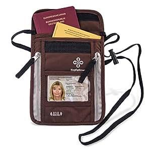 Premium-Brustbeutel mit RFID-Blocker für Damen & Herren | Flache geräumige Brusttasche | Leichte Brustbeutel-Tasche für maximale Sicherheit für Smartphone & Reise-Dokumente (Braun)