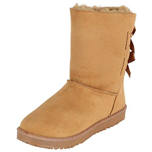 Stiefelparadies Warm Gefütterte Stiefel Damen Stiefeletten Schleifen Satinoptik Schuhe Bequeme Schlupfstiefel Kuschelig Warme Boots Flandell Hellbraun Schleifen