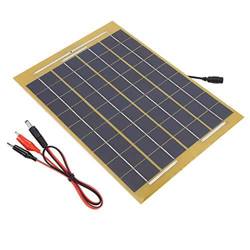 Alomejor 10 Watt Solar Panel Ladegerät 18 V wasserdichte Tragbare Solar Panel Laderegler mit Batterie Clip für Van Wohnmobil Wohnwagen RV Boot Kabine Camper anhänger Zelt Auto Rv-batterie-kabel