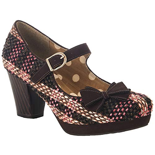 Ruby Shoo Damen Schuhe Crystal Vintage Tweed Retro Pumps Braun 40 -